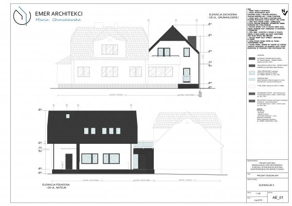 projekt budynku mieszkalnego z łącznikiem w Pruszczu Gdańskim
